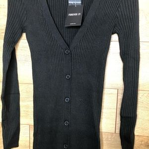 Forever 21 Sweaters - Forever 21 Black Ribbed Longline Cardigan Size S
